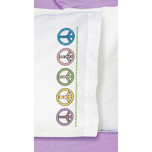 "Peace Sign Pillowcase Pair Stamped Cross Stitch, 20"" x 30"""