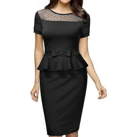 Women Vintage Elegant Short Sleeve Peplum Suit Wear to Work Business Pencil Dresses Midi Cocktail Party Dress Color:Black - Vintage Velvet Suit