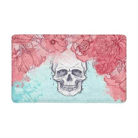 MKHERT Halloween Watercolor Skull with Peony Rose and Poppy Flowers Doormat Rug Home Decor Floor Mat Bath Mat 30x18 inch