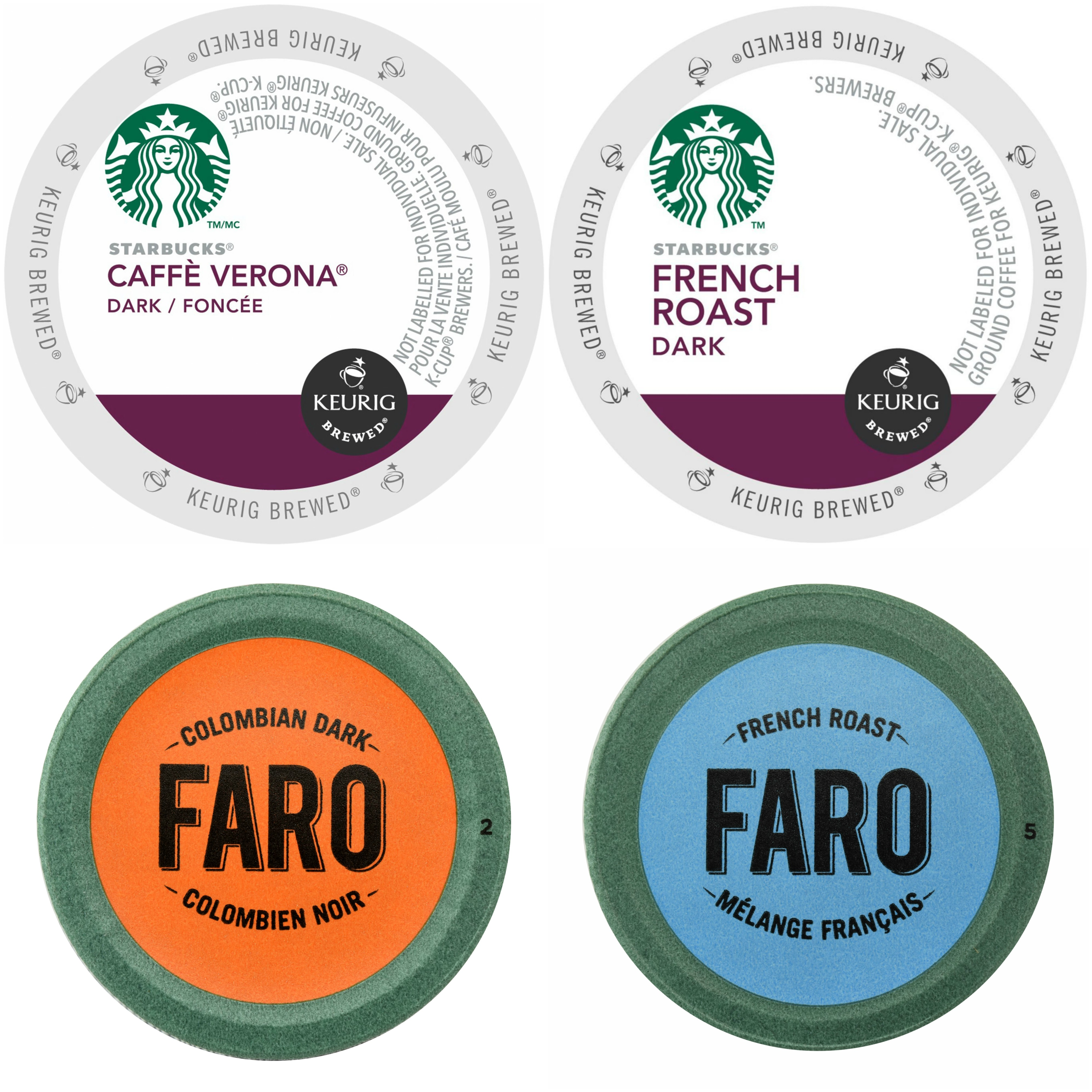 Starbucks Caffe Verona & French Roast Coffee, Faro Colombian Dark & French Roast Coffee Single Cups for Keurig Brewers, 96 Count