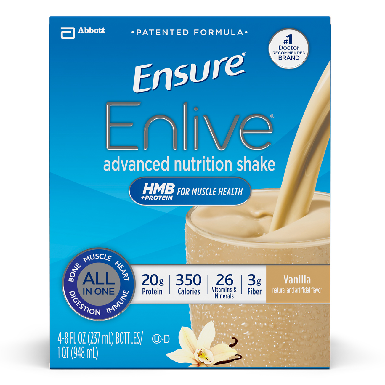 Ensure Enlive Advanced Nutrition Shake with 20 grams of High-Quality protein, Meal Replacement Shakes, Vanilla, 8 fl oz, 4 count