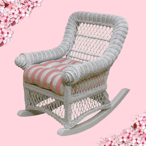 Yesteryear Wicker Child's Rocker with Cushion