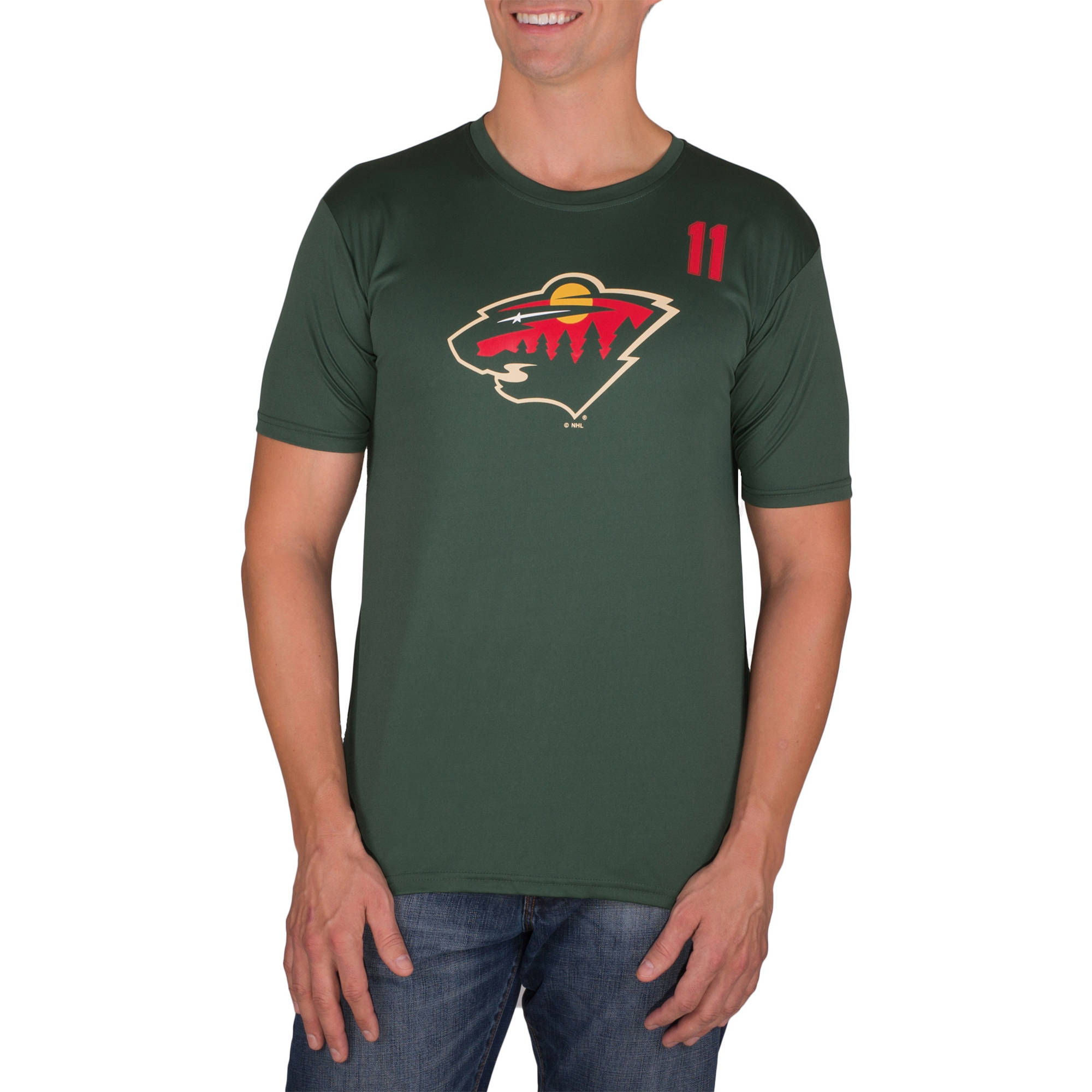 NHL Minnesota Wild Zach Parise 11 Men's Athletic-Fit Impact Tee Shirt