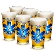 EMT 16 oz. Pint Glass EMS On Call For Life (Set of 6) by Erazor Bits