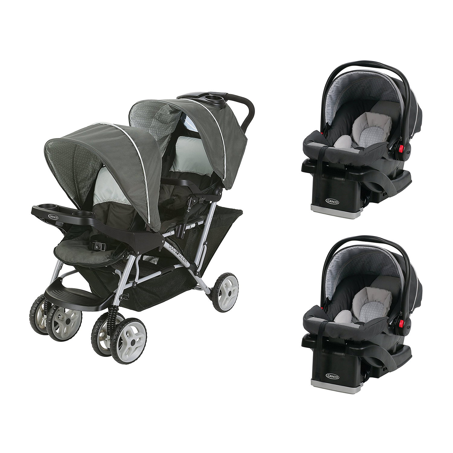 Graco DuoGlider Click Double Stroller + SnugRide Car Seats Travel System-Glacier by Graco