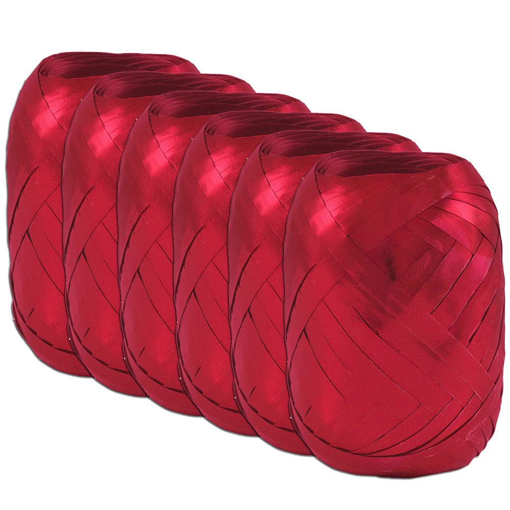 """JAM Paper Curling Ribbon, 3/8"""" Wide x 66 Feet per Ribbon Egg, Red, Pack of 6"""