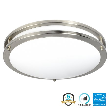 Luxrite LED Flush Mount Ceiling Light, 16 Inch, Dimmable, 3000K Soft ...