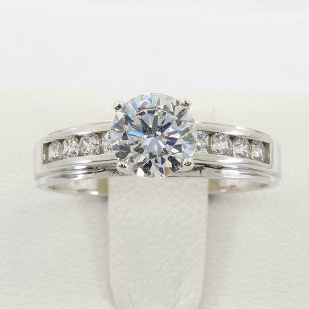 1.50 Ct 14K Real White Gold Round Cut 4 Prong Trellis Setting Solitaire Engagement Wedding Bridal Propose Promise Ring
