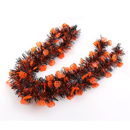 2M Halloween Scene Layout Party Props, Pumpkin Ribbon Tinsel Bar Decorations, Set of 2