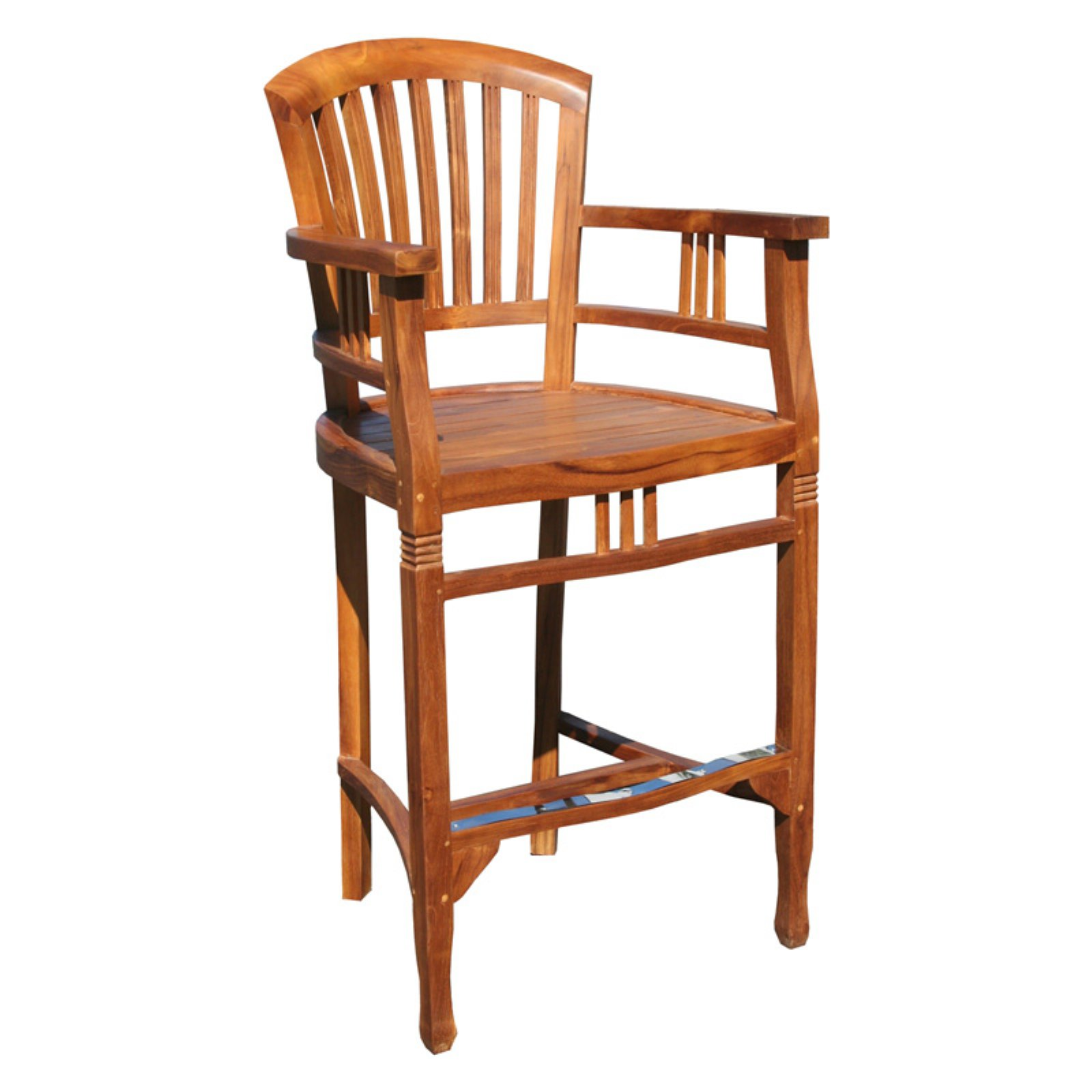Chic Teak Orleans Teak Outdoor Barstool with Arms