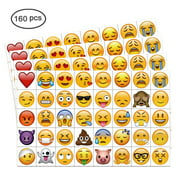 Emoji Temporary Tattoo(160pcs 2inch),Konsait Funny Emoji tattoos Body Stickers for Kids Children Adults for Emoji Party Favors Supplies with Poop Kissing Heart Sunglasses Smirk Relaxed Smi