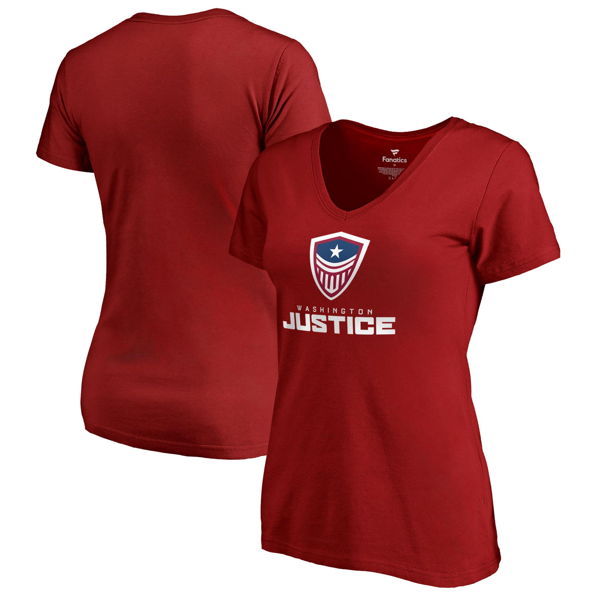Washington Justice Fanatics Branded Women's Team Identity V-Neck T-Shirt - Cardinal