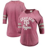 Texas A&M Aggies Pressbox Women's Vintage Wash Cold Shoulder Raglan 3/4-Sleeve T-Shirt - Maroon