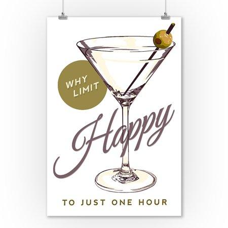 Why Limit Happy Martini Glass Sentiment Lantern Press Artwork 9x12 Art Print Wall Decor Travel Poster