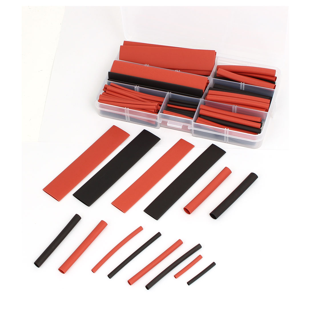 Heat Shrink Tube Wire Wrap Cable Sleeve Sets 8 Sizes Black Red w Case 150pcs