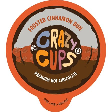 Crazy Cups Frosted Cinnamon Bun Premium Hot Chocolate Single Serve Cups, 22