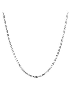 Thin 4 mm Silver Tone Stainless Steel Necklace Cuban Curb Link Chain For Men 20 to 30 Inch