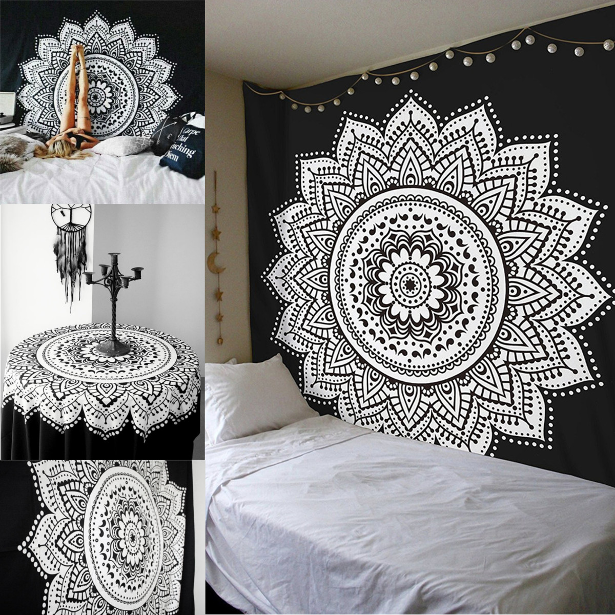 Dorm Decor Wall Hanging Hippie Tapestry Bohemian Bedspread Indian Ethnic Mandala Father's Day gift