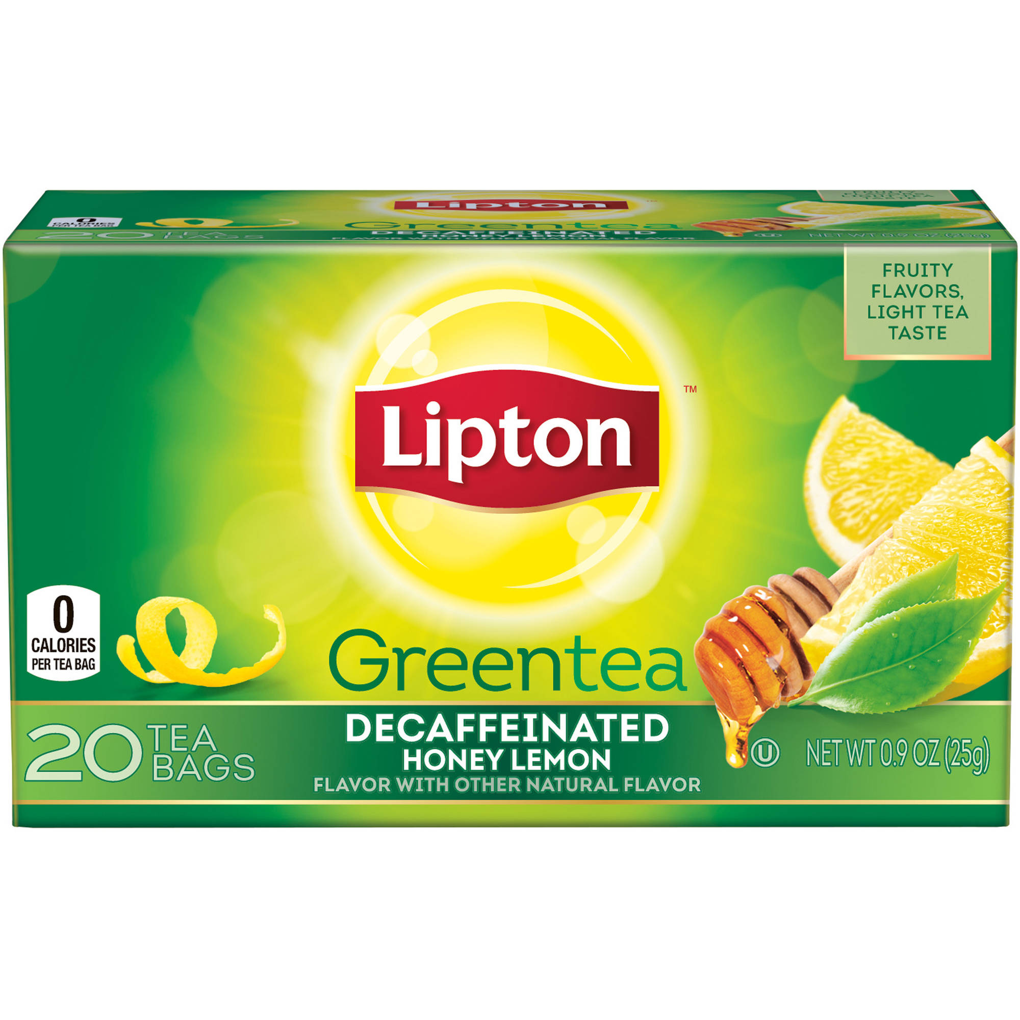 Lipton Decaffeinated Honey Lemon Green Tea Bags, 20 ct