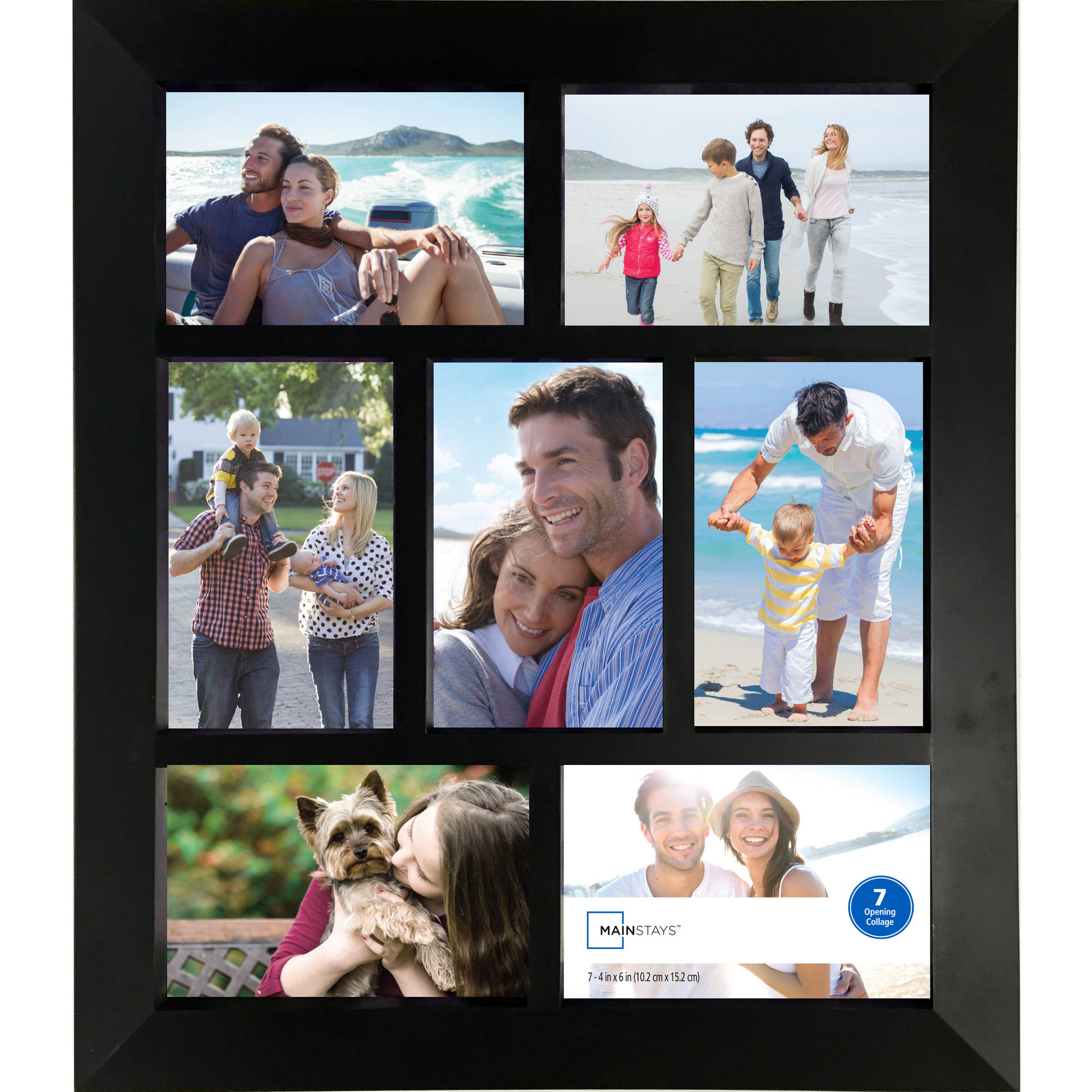 Mainstays 7-Opening 4x6 Wide Collage Frame, Black - Walmart.com