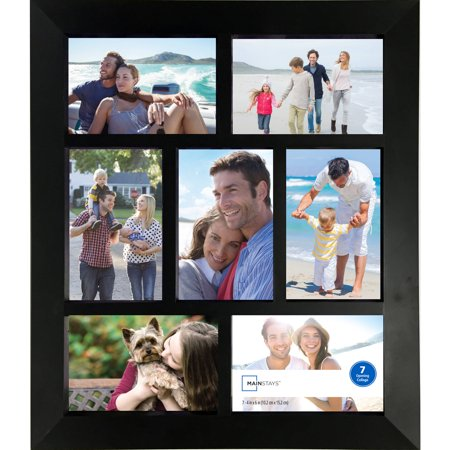Mainstays 7 Opening 4x6 Wide Collage Frame Black Walmartcom