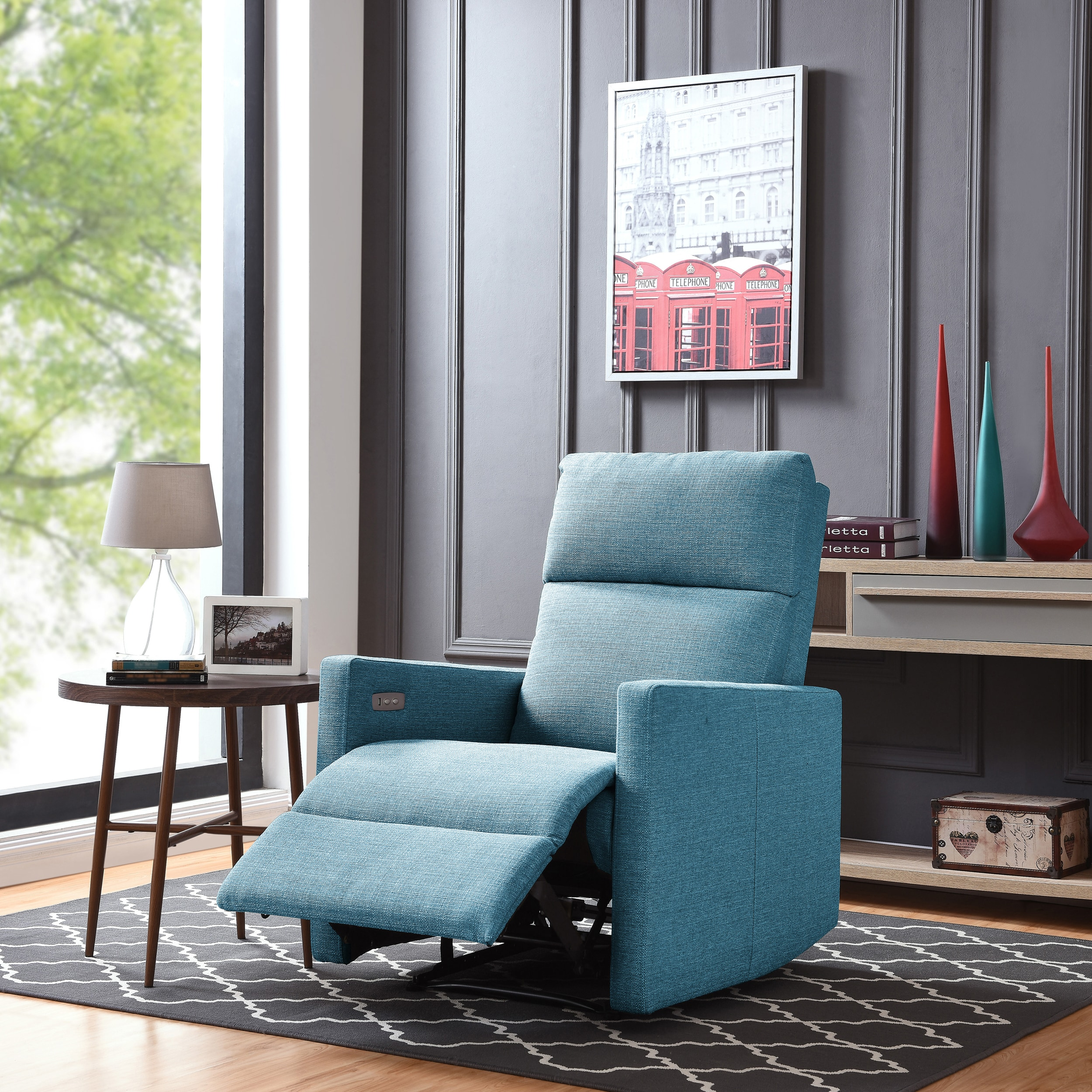 Copper Grove Pallas Turquoise Blue Power Wall Hugger Recliner Chair With  USB Port