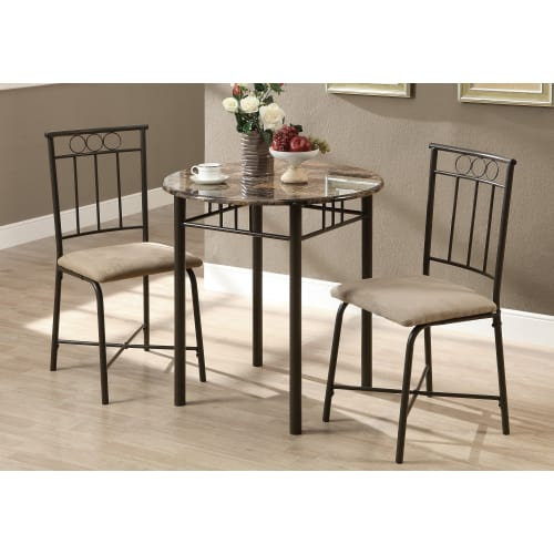 Monarch Dining Set 3Pcs Set / Cappuccino Marble / Bronze Metal