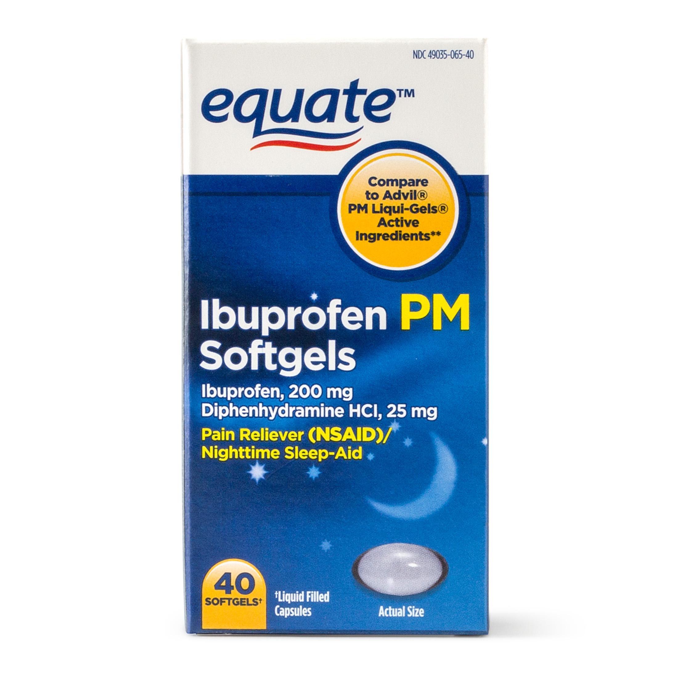 Equate Ibuprofen PM Softgels, 200 mg, 40 Ct