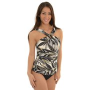 Miraclesuit Women's 2 Piece Halter Tankini Swimsuit Set Black Bikini Bottoms