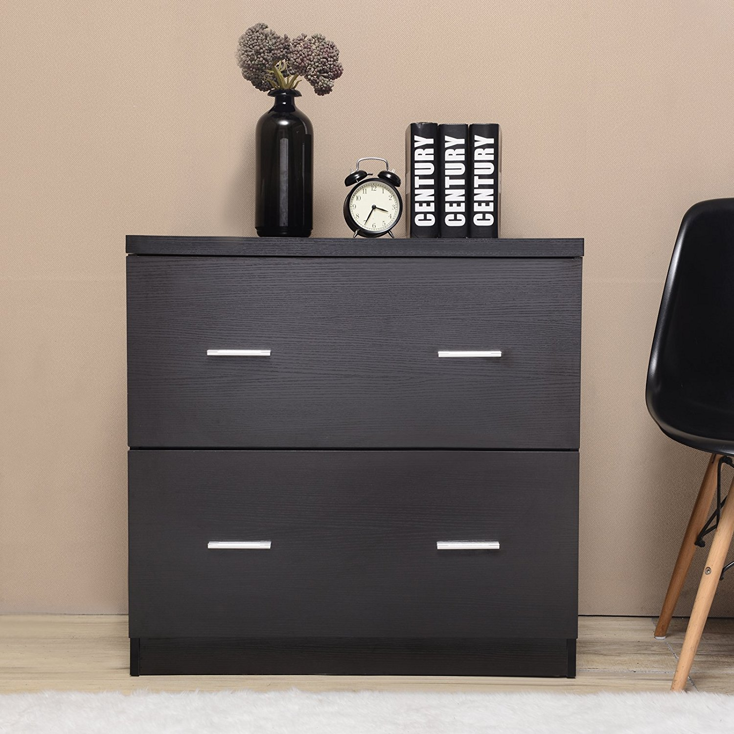 Uenjoy 2-Drawer Lateral File Cabinet,18-Inch Deep, Black