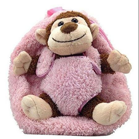 0fe4be5e9e Kreative Kids Plush Animal Backpacks Monkey w Hot Pink - Walmart.com