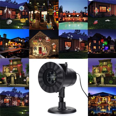 12 Patterns Auto Moving Projector Laser Lamp LED Stage Lamp 4W Spotlight Outdoor Landscape for Halloween  Christmas Party Decoration Waterproof IP65AC 100V-240V