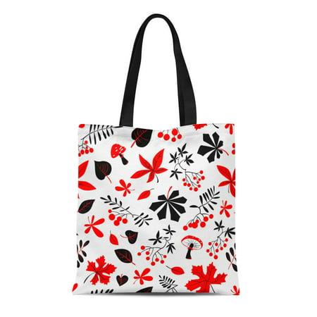 SIDONKU Canvas Tote Bag Fall Season Floral Autumn Bright Leaves Rowan and Grape Reusable Shoulder Grocery Shopping Bags Handbag