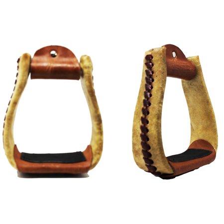 Horse Saddle  Western Trail Saddle Tack Rawhide Leather Covered Roper Stirrups (Western Saddle Stirrups)