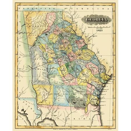 Map Of Old Georgia.Old State Map Georgia Lucas 1823 23 X 28 44