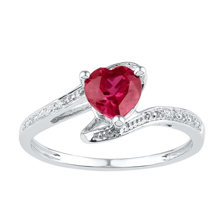 - Sterling Silver Womens Heart Lab-Created Ruby Solitaire Diamond Ring 1-1/10 Cttw