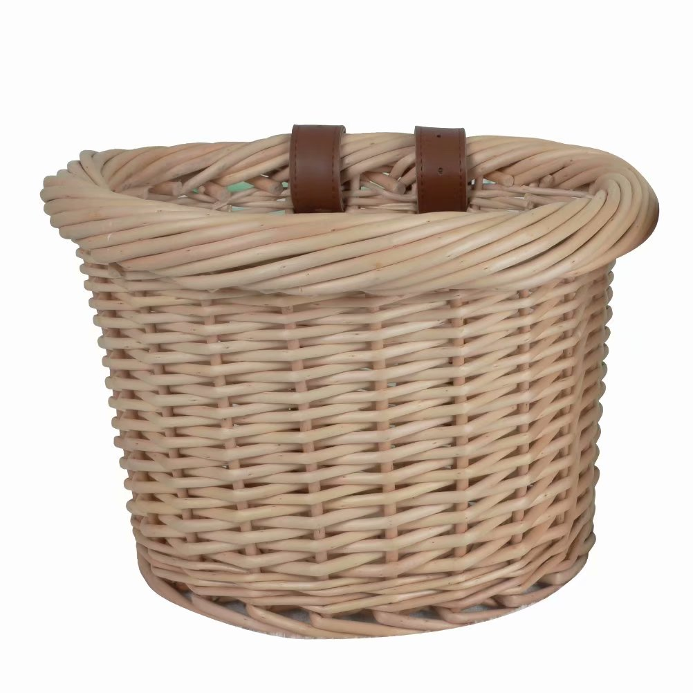 Outdoor Bicycle Basket Hand-woven Basket Woven Wicker Basket Braided Storage Organizer with Braided Handles