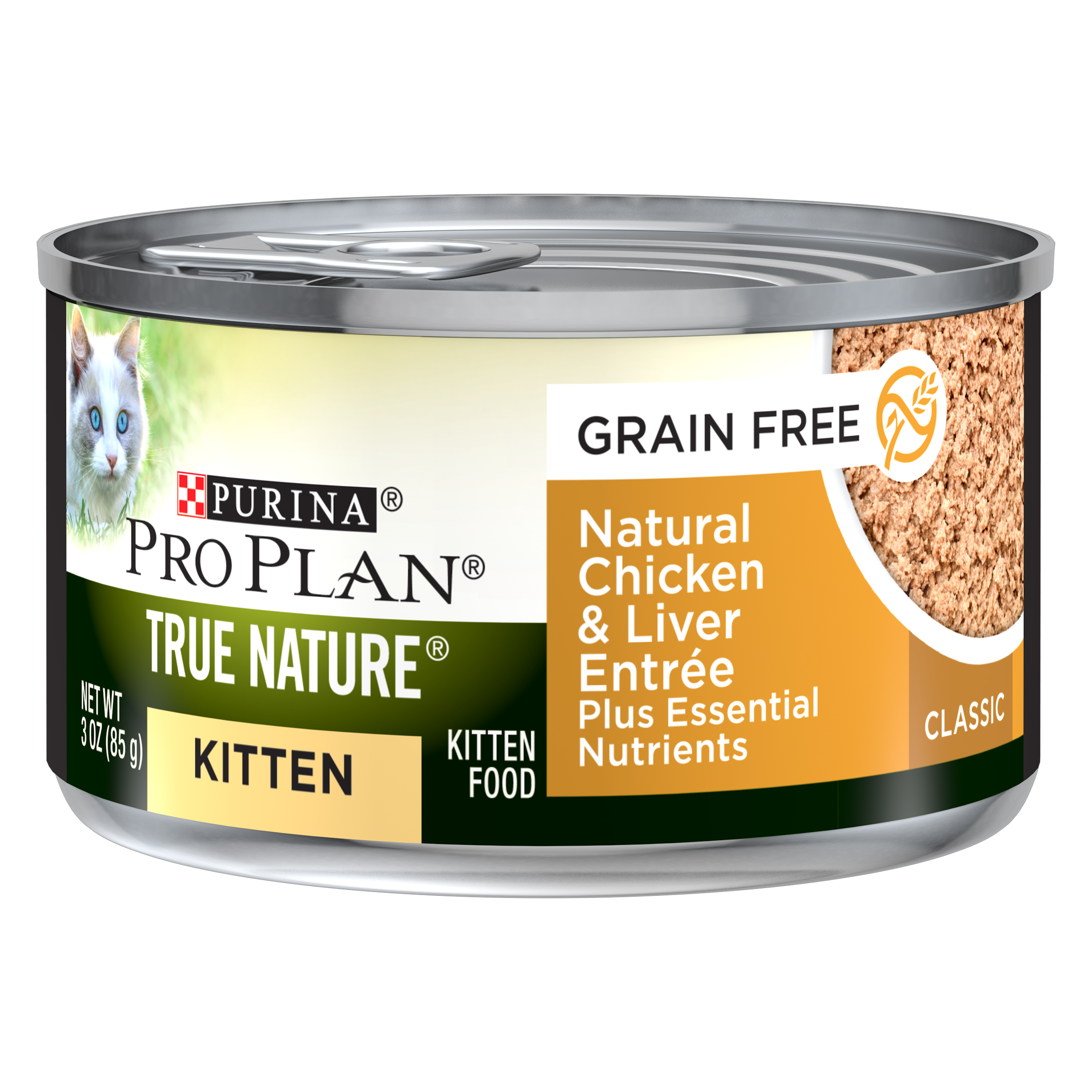 Purina Pro Plan TRUE NATURE Grain Free Natural Chicken & Liver Formula Plus Essential Nutrients Wet Kitten Food - (24) 3 oz. Pull-Top Can