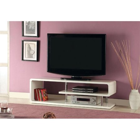 Furniture Of America IDF-5057-TV Ninove II Contemporary TV Console With Curled Shelving – White