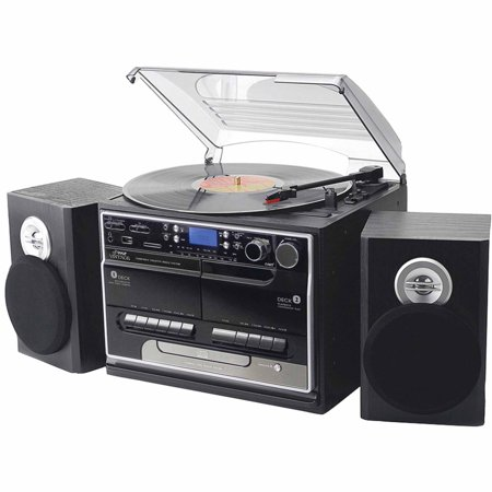 Pyle Home Pttcsm70bt 3-Speed Turntable with CD and MP3 Player, Radio and Bluetooth by