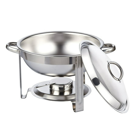 Cook N Home 5 Quart Round Chafing Dish Chafer with Lid, Stainless Steel