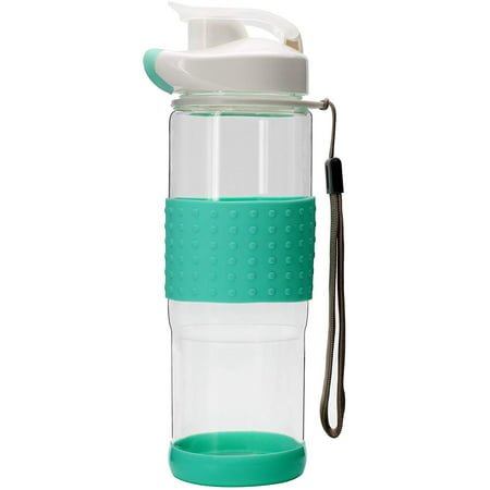 TONOS Flip Top Glass Water Bottle Silicone Wrap Glass Bottle Wide Mouth Spout Bottle BPA Free Lead Free Drinking Cup with Flip Top Lid Spout Cap Carrying Handle String-18.5 oz Aqua