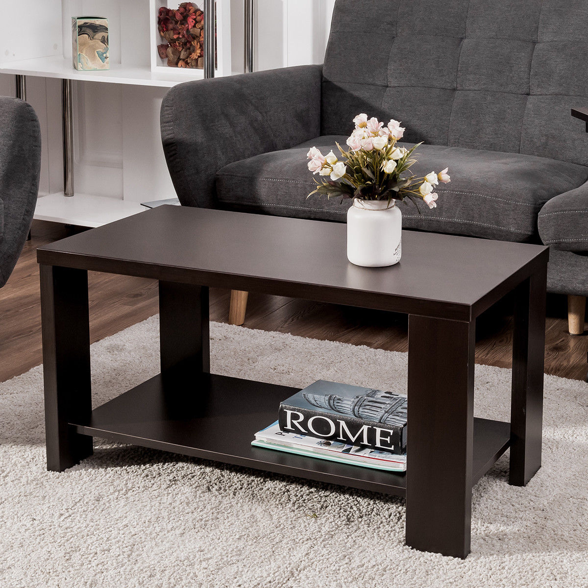 Costway Coffee Table Rectangular Cocktail Table Living Room Furniture w  Storage Shelf by Costway
