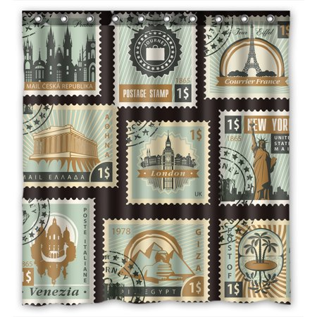 YKCG Old Stamps Collection Postage for Sale Styled Vintage Blue Waterproof Fabric Bathroom Shower Curtain 66x72 (Baby Shower Postage Stamps)
