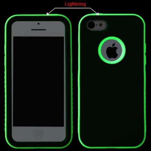 Insten Rubberized Black/Lightning Electric Green VERGE Hybrid Case Cover For APPLE iPhone 5C
