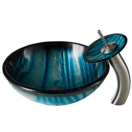 Aus Nature Series Blue Glass Bathroom Vessel Sink And Waterfall