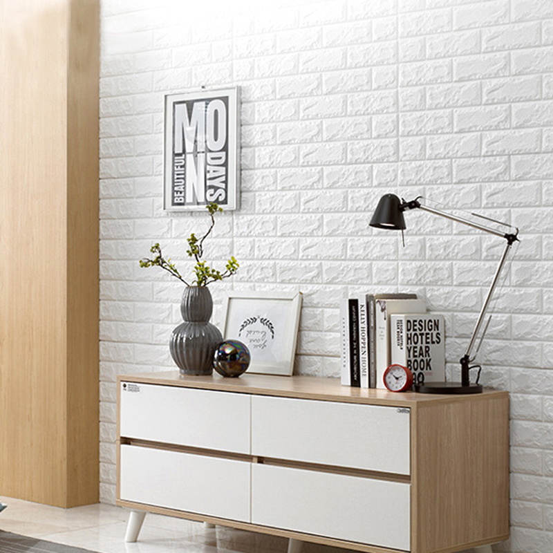 Art3d 6 Sq.Ft Peel And Stick 3D Wall Panels White Brick Wallpaper / Wall