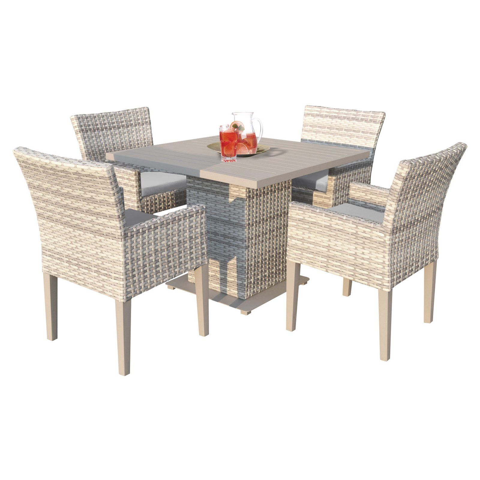 TK Classics Fairmont Wicker 5 Piece Square Table Patio Dining Set