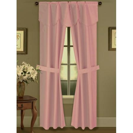 5pc Light Pink Rod Pocket Faux Silk Room Darkening Blackout Window Curtain 1 Fringe Valance 2