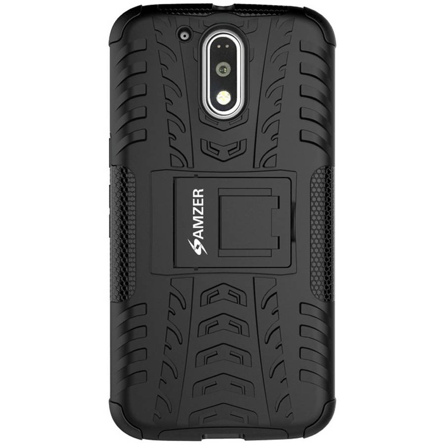 Amzer Impact-Resistant Hybrid Warrior Case for Motorola Moto G4 Plus, Moto G Plus 4th Gen XT1642/XT1643, Moto G4 Plus XT1644, Black/Black